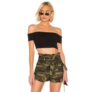 NWT Lovers & Friends Camo Paper-bag Shorts